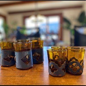 Vintage Mid Century Brutalist Amber Barware Glass